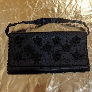 Vintage 50s/60s black beaded evening purse